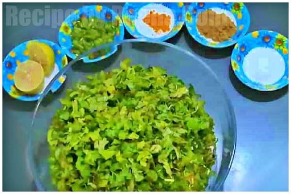 kothamveer vadi recipi step 1