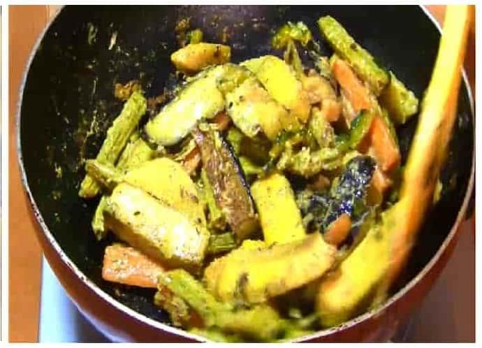 bangali dish sukto step 4